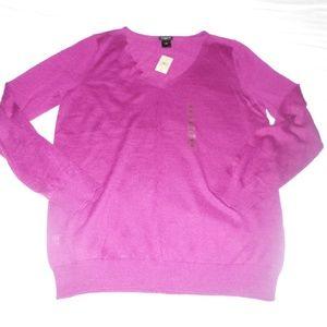 NWT Ann Taylor Purple Wool V Neck Sweater XL